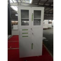 Quality China K/D glass door steel cupboard cabinet FYD-W002, H900XW900XD400 mm,white color for office storage file for sale