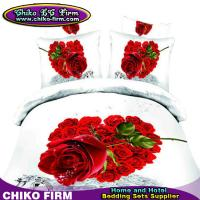 Wholesale 205TC 100% Cotton Queen Size Red Rose 3D Duvet Cover Sets with Flat Sheet from china suppliers
