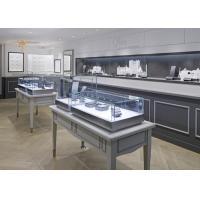 Oblong Shape Matte Gray Glass Jewellery Display Cabinets Simple Modern Style