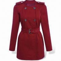 Wholesale Ladies Trench Coat with 2 Front Slip Pockets and Waist Belt from china suppliers