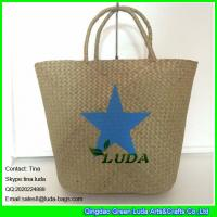 Wholesale LDSC-041 fashion palm leaf handbag star printed seagrass straw tote handbags from china suppliers