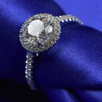 Wholesale White Gold Forever One Moissanite Engagement Rings 9.25 Hardness RD0165 from china suppliers