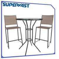 Pub height patio bistro set bar furniture sling chat set for Tall patio chairs sale