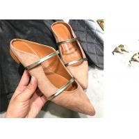 Wholesale Suede Leather Upper Pointed Toe Flat Mules , Womens Flat Slip On Mules With Two Strapes from china suppliers