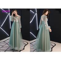 Buy cheap Floral party dress green pink blue colors long puff sleeves tulle evening dress from wholesalers