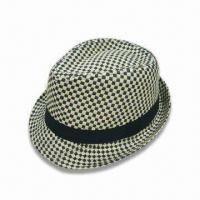 Wholesale Straw Trilby/Hat in Black and Natural Checks, Various Colors are Available from china suppliers