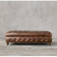 Wholesale Comfortable sanctuary Leather Ottoman Stool with Tufted tight bench seat from china suppliers