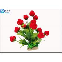 Wholesale Red Rose Flowers Water Drops Plastic Aquatic Plants With Ceramic Base For Home Decorations from china suppliers
