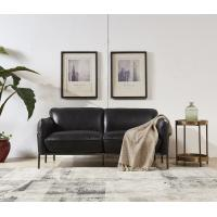 China Steel Frame Black Leather Two Seater Settee, Contemporary Black Two Seater Sofa on sale