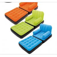 Quality custom multifunctional flock PVC inflatable sofa chair Loungers foldable air bed with pedal for one person for sale