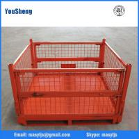 Wholesale Industrial Foldable Galvanized Wire Mesh Container With Wheels from china suppliers