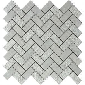 Buy cheap Grey marble mosaic tile herringbone 1x2