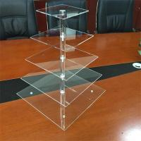 Wholesale 5 tier round PMMA acrylic square cake display rack from china suppliers