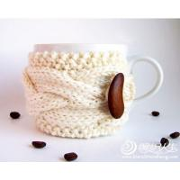 Wholesale coffee mug Crochet Cup Cozy with bean bottons , Knitted Wraparound Cable Design from china suppliers