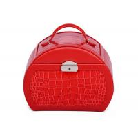 Wholesale Customized Small Red PU leather jewellery storage box with mirror , necklace storage box from china suppliers