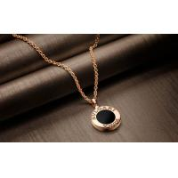Wholesale BVLGARI 18K Rose Gold Diamond Pendant Necklace with inlaid mother of pearl and onyx from china suppliers