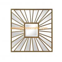 Wholesale Living Room Square Antique Gold Sunburst Mounted Modern Metal  Wall Mirror from china suppliers
