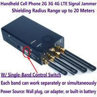 Wholesale 4 Antenna Handheld Cell Phone 2G 3G 4G LTE Signal Jammer Blocker W/ Single Control Switch from china suppliers