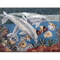 Wholesale Blue Sea White Dolphins Mosaic Art Patterns Medallion Fish Border Marble Mosaic Tile from china suppliers