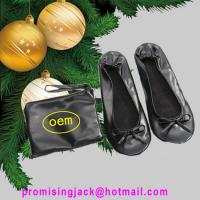 Wholesale 2018 New Fashion Christmas Gifts and Wedding Gift Silver and Black Fold Up PU Ballet Shoes from china suppliers
