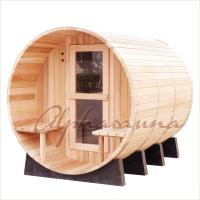 Wholesale 8foot by 8 foot for 4-6 Person Outdoor Red Cedar Barrel Sauna  With Harvia Elecrical sauna heater from china suppliers