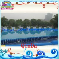 Wholesale Summer swimming rectangular PVC outdoor above ground metal frame pools from china suppliers