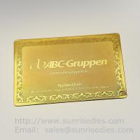 Gold Tone Etched Metal Membership Cards