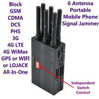 Wholesale 6 Antenna High Power Portable Cell Phone Signal Jammer GSM 3G 4G LTE WIMAX GPS WIFI LOJACK from china suppliers
