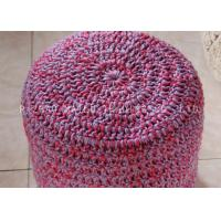 Wholesale Red And Gray Mixed Crochet Stool Cover Woodgrain Round Knitted Pouf Ottoman from china suppliers