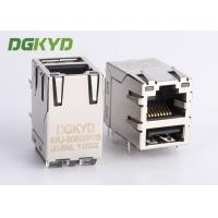 Wholesale Metal shield stacked USB RJ45 Connector with gigabit ethernet transformer from china suppliers