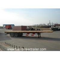 Wholesale 40 Feet tri axle container Flatbed Semi Trailer with front baffle and side rods from china suppliers