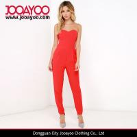 Wholesale Pure Color Red Strapless Long pants Sexy Heart Neckline Jumpsuits For Womens from china suppliers