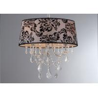 Wholesale Burnt Out Black Flower Fabric Shade Luxury Crystal Chandelier For Living Room from china suppliers