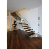 Wholesale Suspend glass railing wood open riser staircases from china suppliers