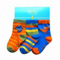 Buy cheap Children's/Kids' Socks, Made of Cotton, Spandex and Jacquard Knitting from wholesalers