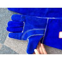 "Quality Blue Cow Split Leather 14"" Safety Working Gloves Reinforced Palm Kevlar Stiched Full Lining for sale"