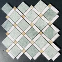 Wholesale Shiny Ming Green Marble Stone Mosaic Tile With Thassos Polished Onyx Dot from china suppliers