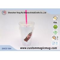 Wholesale Single Layer Plastic Straw Cup With Lid , Large Reusable Plastic Cups 450ml from china suppliers