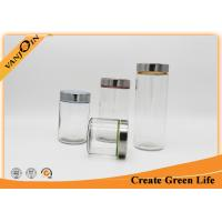Wholesale 1.5L Straight Side Food Glass Storage Jars with Lids , Stainless and Plastic Lid from china suppliers
