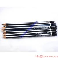 Wholesale classic round red and black stripped wooden HB pencil with eraser topper from china suppliers