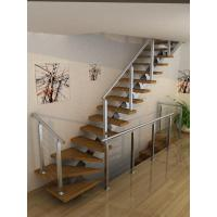 Wholesale Carbon Steel Straight Staircases with Solid Wood Stair Steps from china suppliers