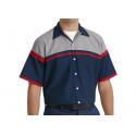 Summer Blend Cotton Uniform Work Shirts Customization Embroidery for sale