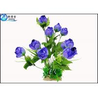 Wholesale Upscale Flowers Blue Rose Fake Plastic Aquatic Plants Artificial Ornamental Plant Wholesale from china suppliers