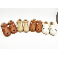 China Kids Boys Girls Shoes Soft Sole Walking Wear-resistant Rubber Outsole Leather Shoes on sale