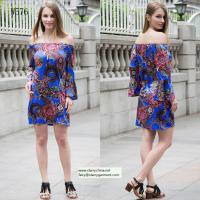 Quality flower and phoenix patterns printed women fashion short dress with puff sleeve in off shoulder for sale