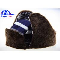 Wholesale Customized Adult Earflag Warm Winter Hats with Checked Cotton / Fake Fur from china suppliers