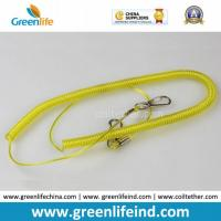 Wholesale Yellow Retractable Clip Elastic Plastic Coil Cord Rope Strap Lanyard from china suppliers