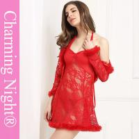 Buy cheap Three Pieces Mature Woman Female Fur Red Sexy Fetish ladies honeymoon nightwear from wholesalers