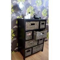 Wooden Furniture Storage Cabinet Woven Straw Drawers Sideboard Ikea Furniture