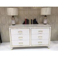 Wholesale White High Gloss Hotel Room Dresser 6 Drawers With Metal Strip , PU Lacquer Paint from china suppliers